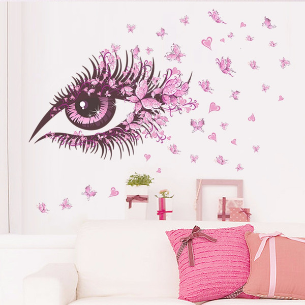 Vivid Pink Eyes Butterflies Flowers Wall Stickers Girls Gifts Wall Decal Home Decor Living Room Poster Flowers PVC DIY Art Mural