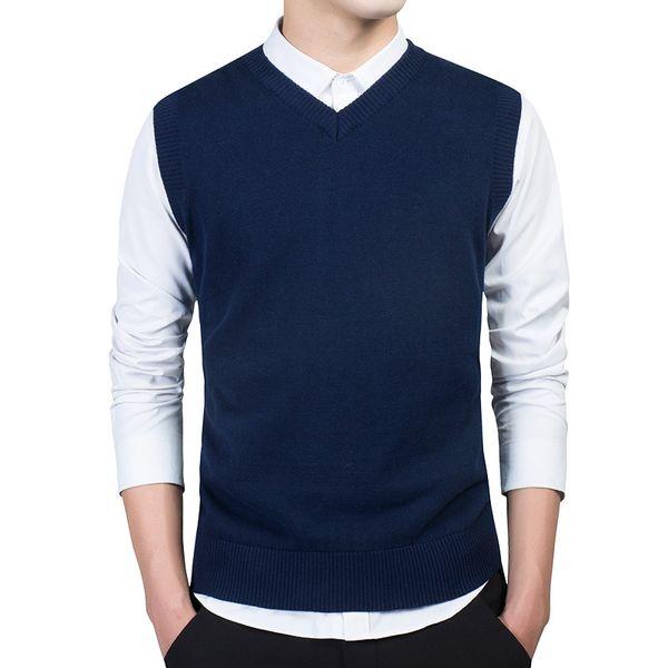 M-3XL Sweater V-neck Pullover Slim Comfortable Vest Spring and Autumn New Men's Cotton Rib Hem Sweater