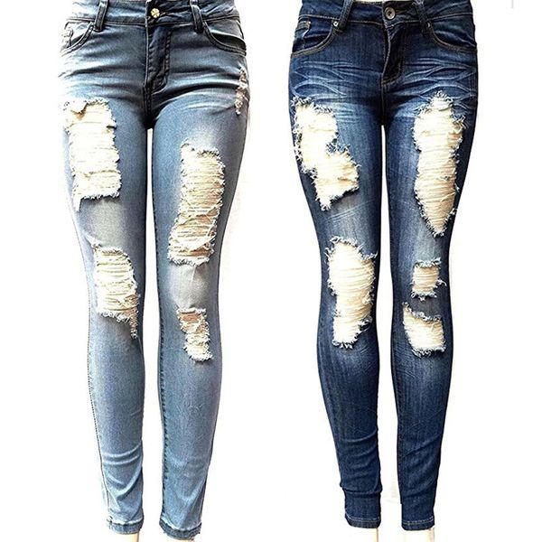 top popular Women's Skinny Hole Ripped Jeans New Fashion Women Baggar Pants Heigh Quality Boyfriend Denim Biker Jeans Female Pencil Pants 2021
