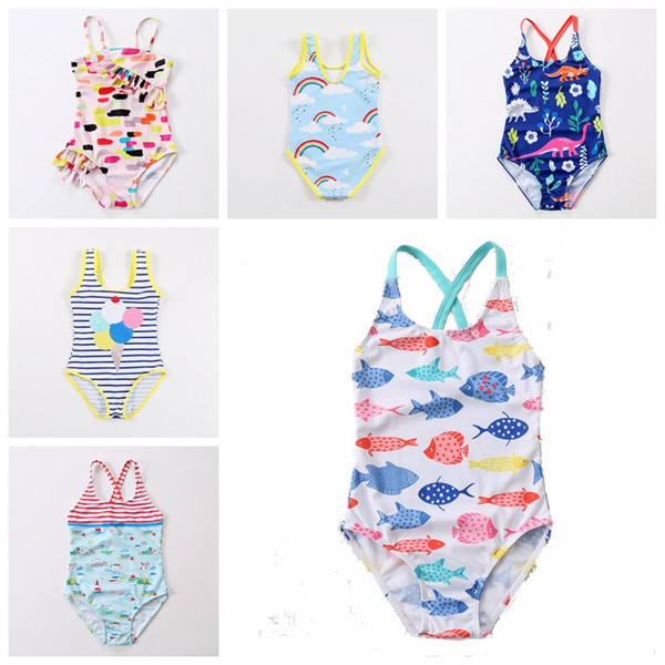 best selling 2019 new design baby girls swimwear swan fish car rainbow dianasour balloon printed cute babies beah wear kids children bathing suit