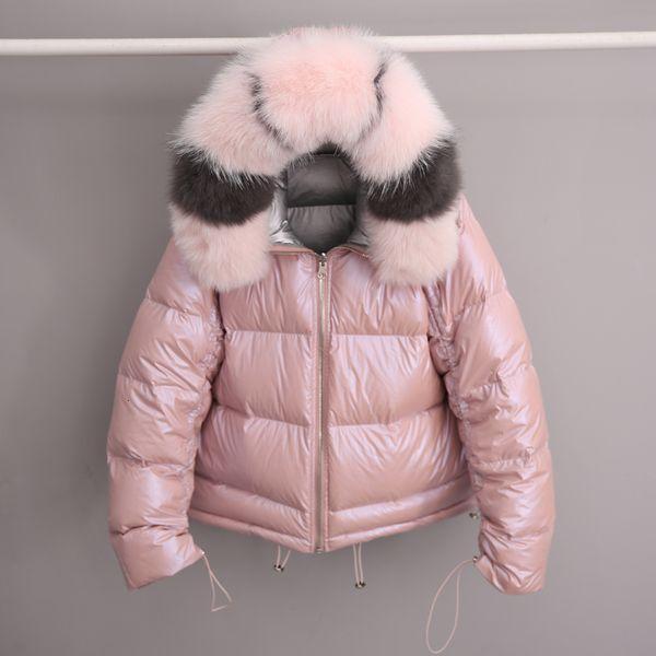 Real Natural Fox Fur 2019 Women Double Sided Silver Golden Duck Down Coat Winter Jacket Women Waterproof Hooded Thick Warm Parka Y190918