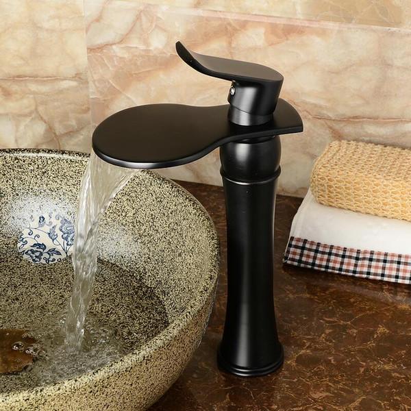 Schwarz bad wasserhahn heiß und kalt gold / chrom hoch messing becken wasserhahn wasserfall waschbecken wasserhahn einzigen handgriff wasserhahn