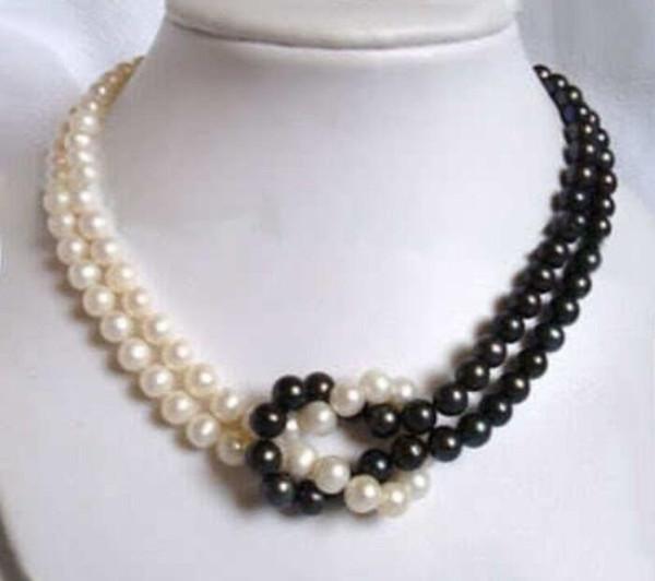 Bijoux Collier de perles 2 rangées 7-8mm whiteblack Collier de perles Akoya 17