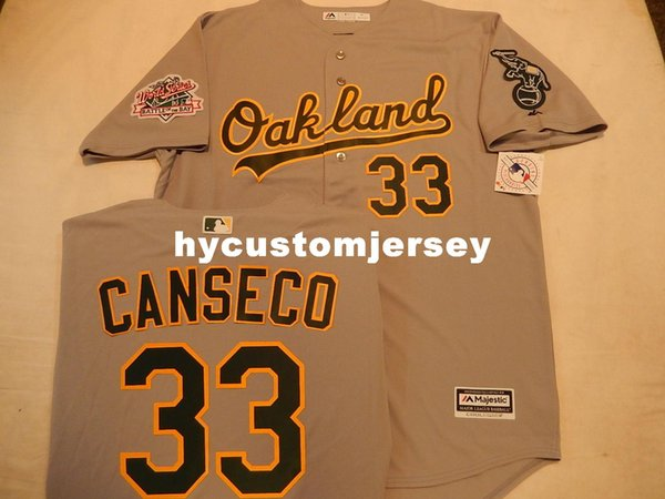 official photos 6cc82 ac435 2019 Cheap Custom Oakland A'S #33 JOSE CANSECO 1989 World Series JERSEY  GRAY Mens Stitched Jerseys Big And Tall SIZE XS 6XL For Sale From ...
