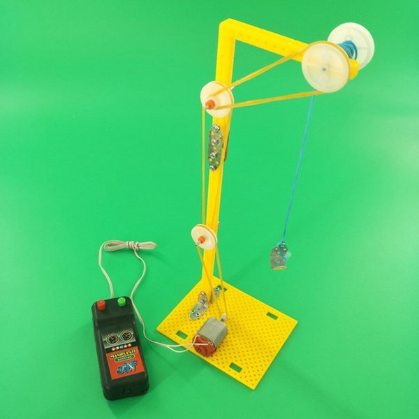 Science and technology small manufacture electric crane model small invention physics experiment puzzle toy assembly