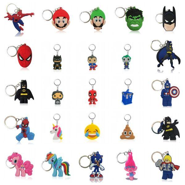 wholesale avenger mario super hero unicorns emoji deadpool cartoon pvc keychain key ring bag cute accessory kawaii party favor
