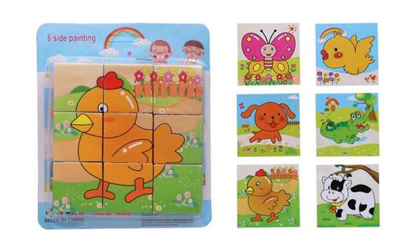 9 штук блока головоломки строительные блоки 3D мультфильм животных 6-гранный головоломки деревянные детские игрушки головоломки производитель ультра-низкий Wholesa
