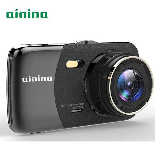 Cámara dvr para automóvil Ainina Cámara de videovigilancia para automóvil Ultra HD IPS de 4 pulgadas, registrador de video FHD 1080P de doble lente