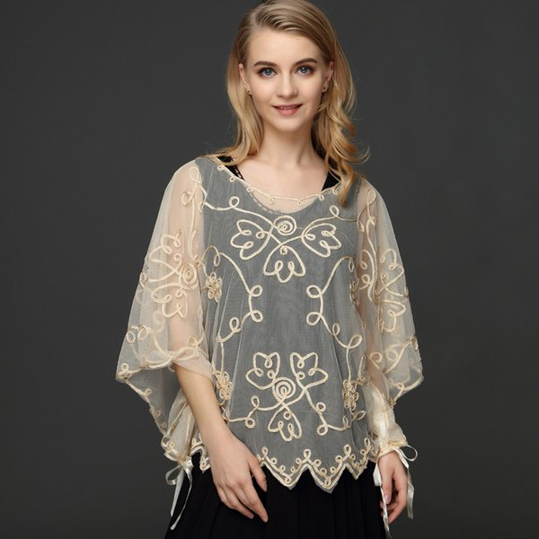 Summer Casual Loose Oversized Thin Mesh Embroidery Floral Batwing Cloak Cape See-Through Lace Poncho Jacket Feminino