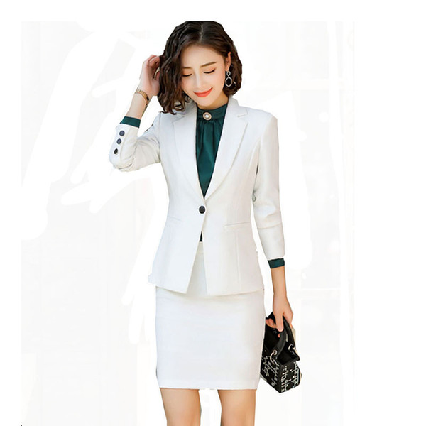 2019 Women Office Lady Single Breasted Work Suit Female Business Blazer Jacket+ Elegant Skirt 2 Pieces Formal OL Uniform