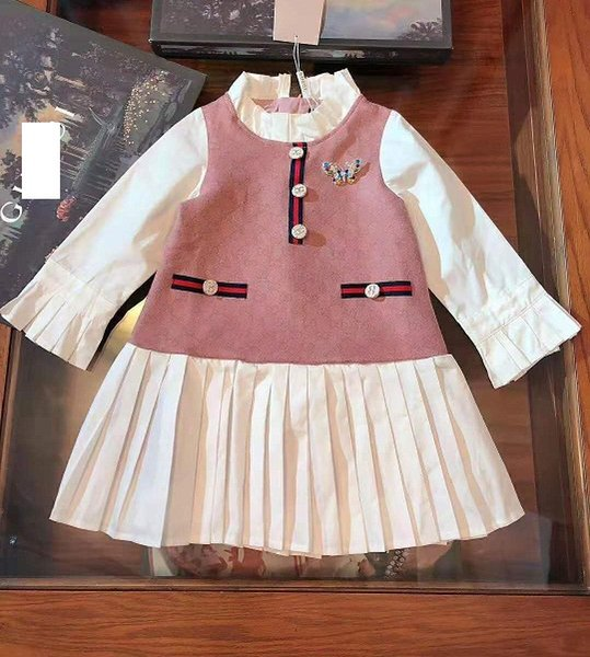 The G* Girls Contrast Color Dresses Fall 2019 Kids Boutique Clothing 3-10T Girls Long Sleeves Dresses Special Products