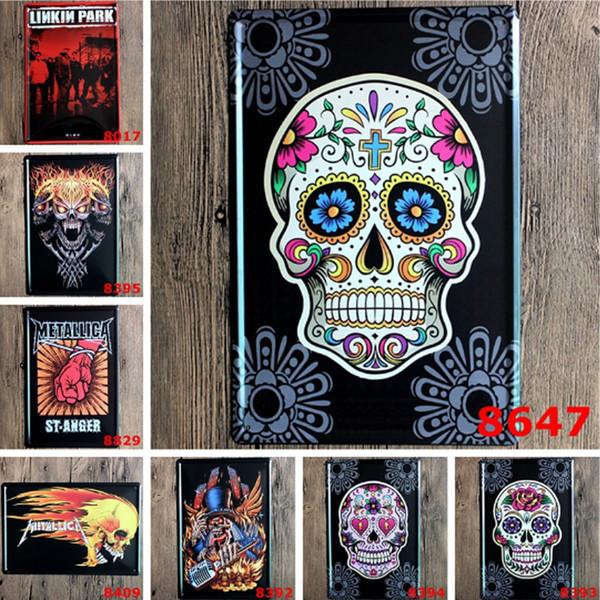 Acheter Métal Art Fer Peintures Linkin Park Crâne Tête Pas De Cadre Boîtes En Métal Affiche Vintage 20 30 Cm Bar Pub Décoration Murale Décor