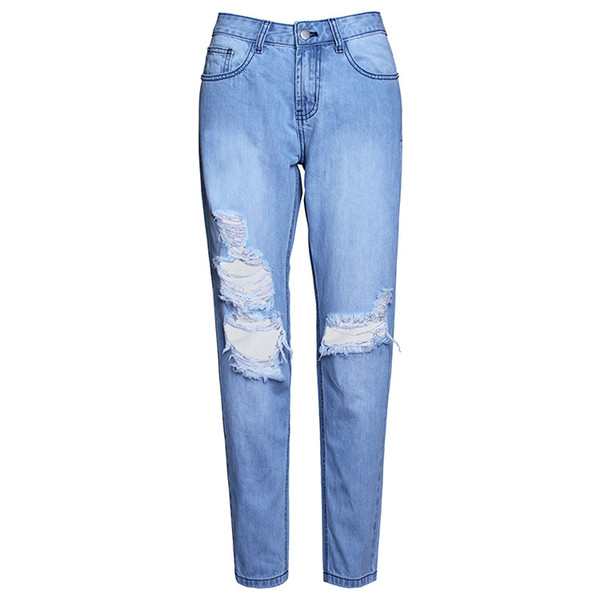 Ripped Jeans Denim Joggers Rodilleras Slim Fit Jeans para mujeres Blue Rock Star Jumpsuit para mujer Jeans destruidos Boyfriend Pencil Pants