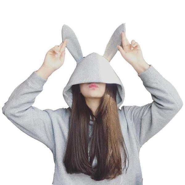 2019 winter oversize hoodies women black gray cute rabbit hoodies for teen girls sweatshirt with ears streetwear sudaderas mujer