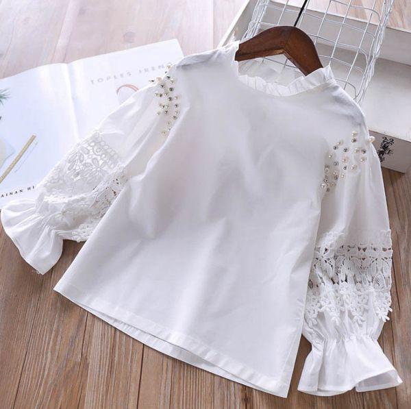 2019 Spring new kids blouse girls beaded lace hollow flowers embroidery princess tops children ruffle collar falbala sleeve shirt F4758