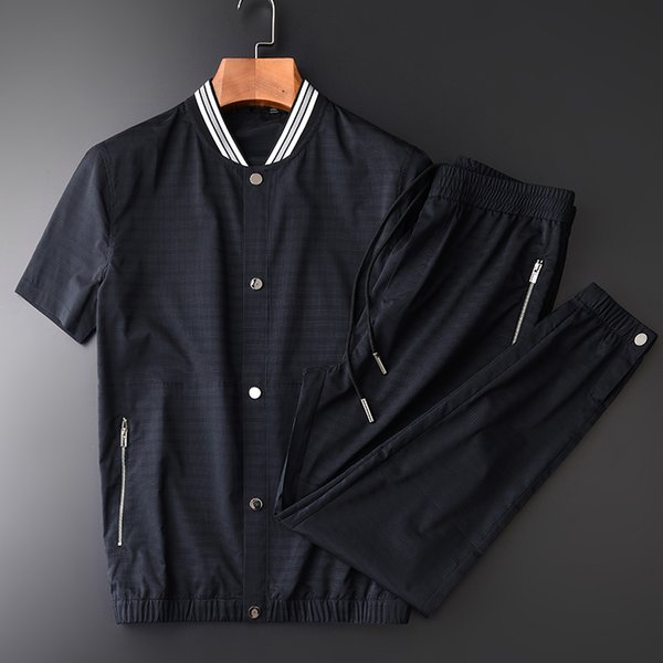 New Summer Male Sets (JACKET+PANTS) Luxury Hollow Out Fabric Baseball Collar Mens Sets Plus Size 4xl Short Sleeve Mans