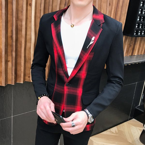 357212d214d7 Red Check Suits Mens Green Plaid Suits Mens Slim Fit Party Dress Stage  Costumes Two Piece Wedding Dress Designers