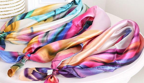 아름다운 RAINBOW 색상 새틴 스퀘어 실크 스카프 Small Imitation Scarf 스카프 화려한 스카프 화려한 스카프 60X60CM 인쇄