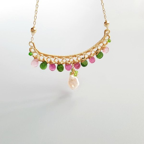 LiiJi Unique Genuine Pink Green Tourmalines Freshwater Pearl Delicated Handmade Pendant Necklace 40cm