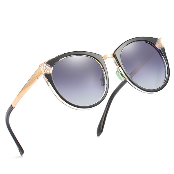 High-end ladies pattern hollow sunglasses retro round frame sunglasses printing men's head color hollow pattern travel goggles send box