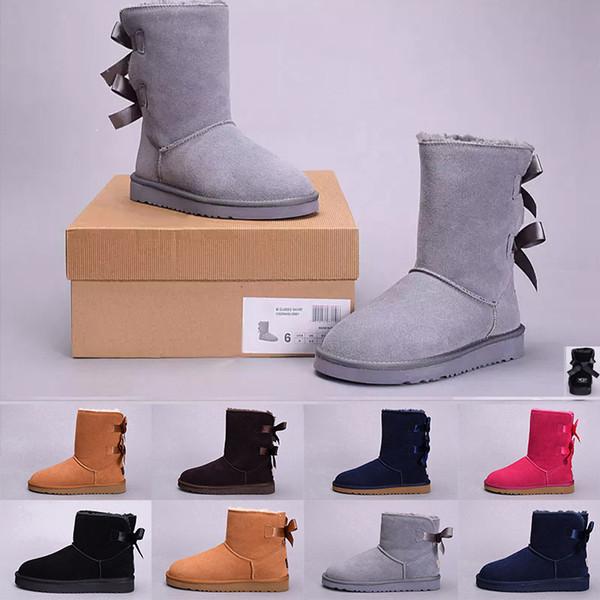 Stiefel UGG Schuhe Damen Australia Classic Kniestiefel Stiefeletten Schwarz Grau Kastanie Marineblau Damen Mädchen Stiefel Größe US 5-10