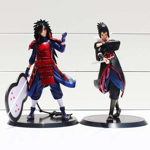 toys free shipping 2pcs/set 17cm Anime Naruto Uchiha Madara Uchiha Sasuke PVC Action Figures Model Toys Free Shipping