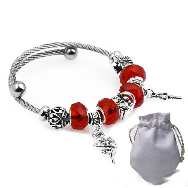 6pcs Stainless Steel Wire Bracelets Fit Pandora Red Faceted Murano Glass Beads Women Silver Angel Key Pendant Bangle Cat Heart Jewelry