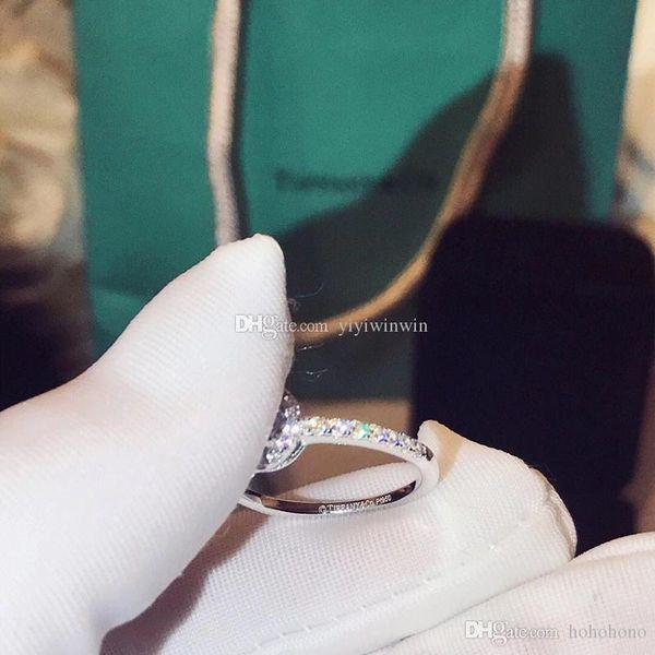 Novo estilo de jóias das mulheres anéis de prata esterlina 925 anel de diamante novo tif co marca de luxo bague dame anello donna Anel de senhora caixa original