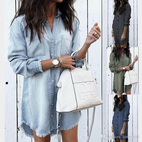 Femmes manches longues Chemisier Jean Denim Shirt Robe Femme Taille Plus Turndown Chemises Summer Lady Casual Bureau Vintage Tops