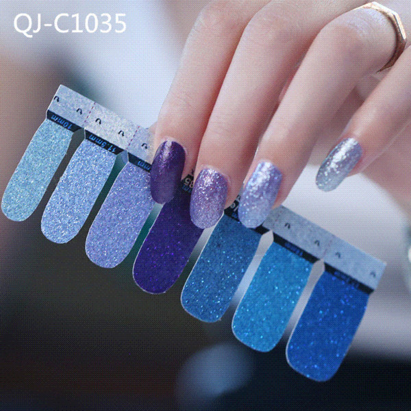 Glitter Polvere Gradiente Colore adesivi Nail Wraps Completa copertura Nail Polish Sticker fai da te autoadesiva decorazione unghie artistiche BZ050
