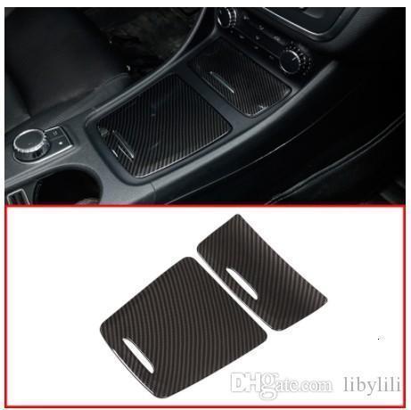 Carbone ABS Centre Boîte de rangement panneau de garniture Cendrier couverture Autocollants voiture pour Mercedes Benz Classe A CLA GLA W117 W176 A180 2014-2017