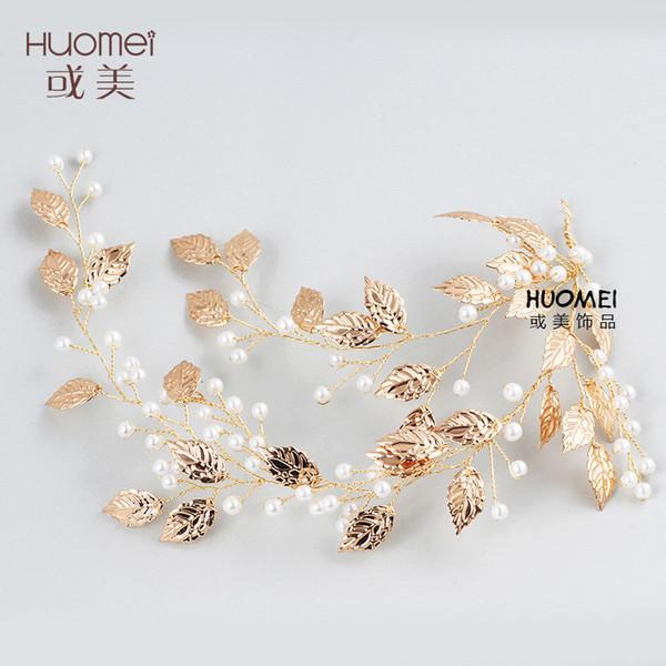 NPASON 2019 Vintage Sweet Wedding Jewelery Beautiful Bride Headwear Golden Leaf Wedding Dress Accessories Elegant Party Jewelry