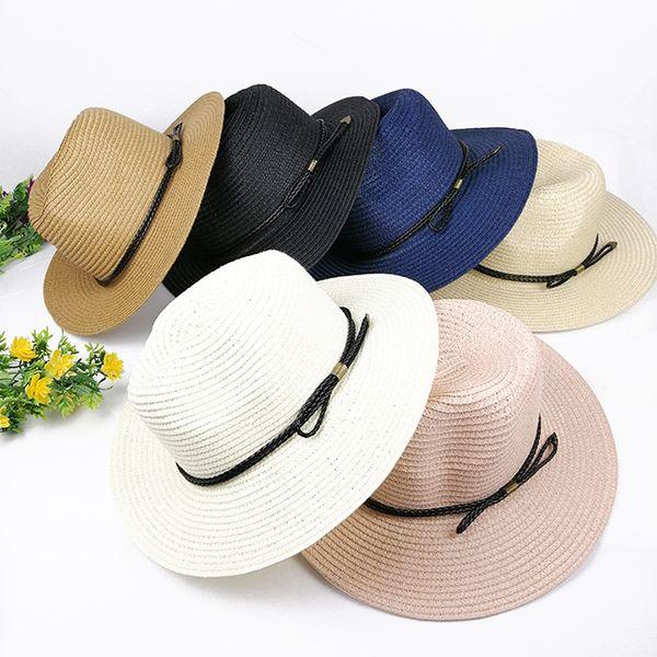 Sun Hats For Women Panama Straw Hat Summer Casual Flat Brim Beach Hat 2019 Adjustable Foldable Ladies Sombrero