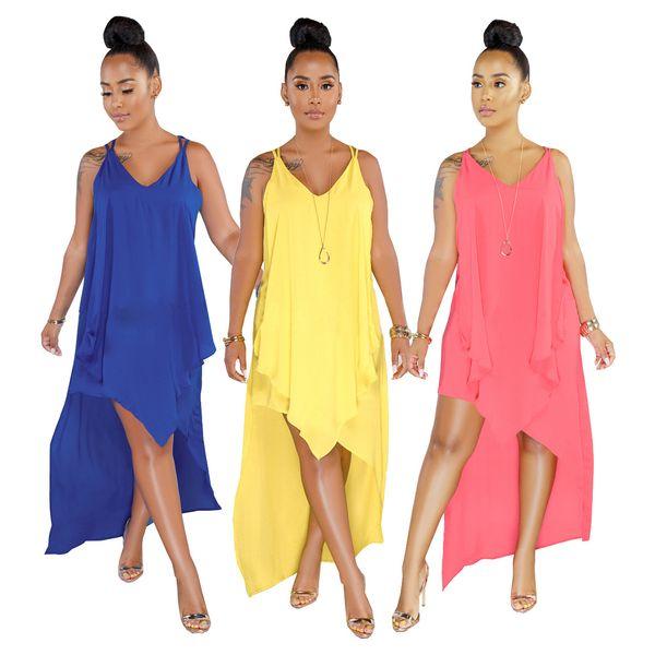 Normallack-reizvolles Frauen-Kleid-Sleeveless tiefes V-Ansatz-elegante Frauen-Kleid-vorderes kurzes rückseitiges langes asymmetrisches Kleid