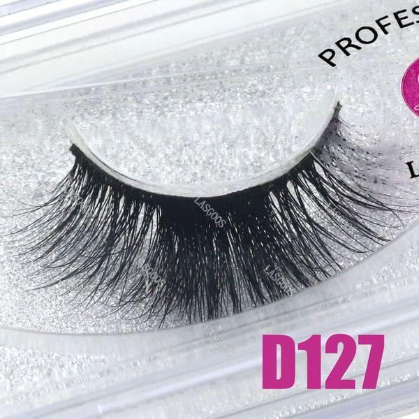 LASGOOS 1 Pair Boxed 100% Mink 3D Fluffy C Curl Crisscross Fake Lashes Eye Downy Natural Long 13mm False Eyelashes D127