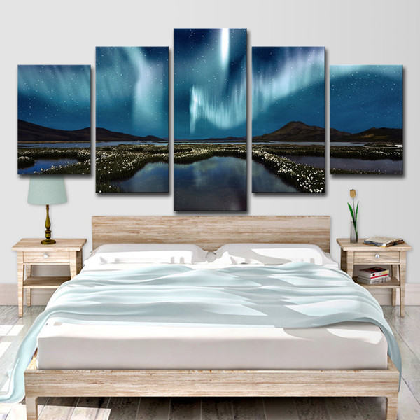 Abstract Canvas Painting Wall Art Oil Poster Wall Pictures 5 Panel Mountains And Plains Aurora Landscape Room Home Decor