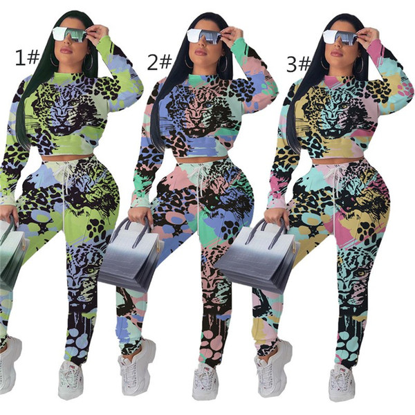 Womens designer Tracksuits Two Pieces Set Fashion Sexy Jogging Sports long sleeves and pants Suits slim leopard suit women clothing klw2071