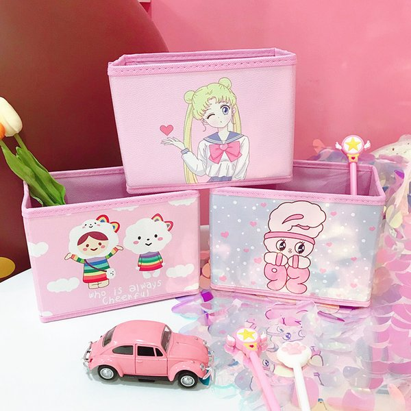 Beauty Girl Gift PU Pink Cosmetic Storage Boxes Folding Multifunction Nonwoven Make Up Container Bag Case Jewelry Storage