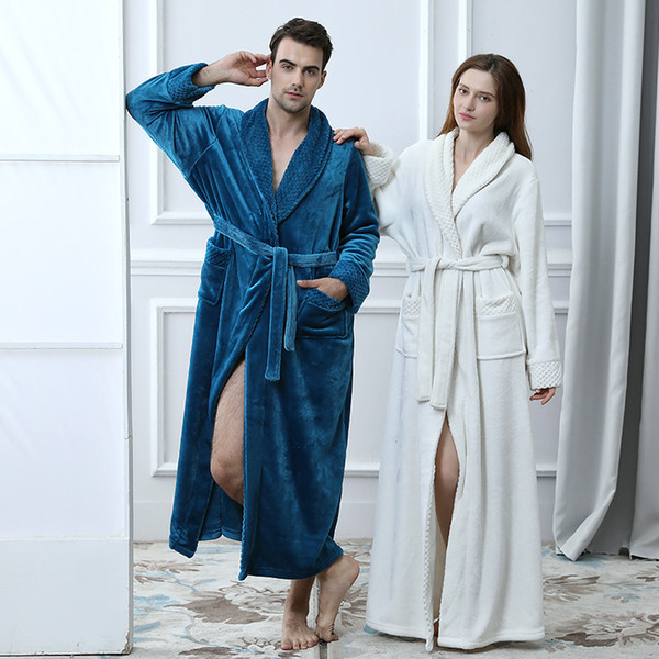 Autumn and winter new thickening pajamas flannel stitching couple nightgown Amazon long home bathrobes wholesale