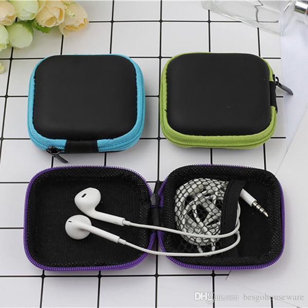 PU Earphones Bag Headphone Case Protect Earbud Data Charging Cable Storage Boxes