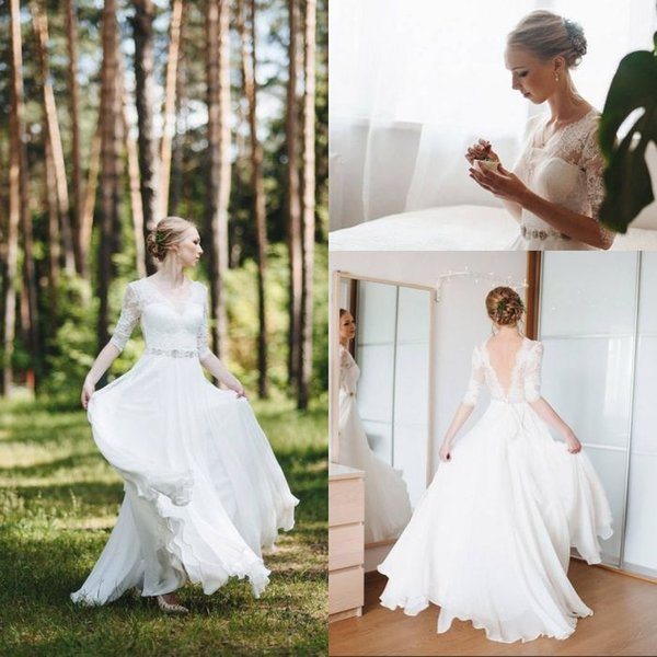 Summer Vintage Style A Line V Neck Floor Length White Chiffon Wedding Dresses With Half Sleeve Lace Top Backless Removed Crystal Belt