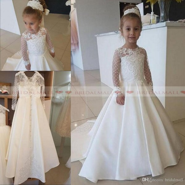 2019 Ivory Satin Lace Applique Flower Girl Dress For Wedding Party Long Sleeves Little Kids Girls First Communion Gowns Christmas Pageant