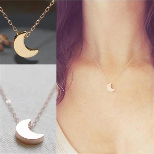 Semplice ciondolo in argento placcato in oro con stella di luna Collana per donna Mujer Joyeria Mujer Colar Regalo di gioielli di moda