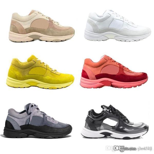 Luxus Echtleder Schuhe Designer Turnschuhe Alphabet Wildleder Plain Patchwork Trainer Frauen Herren Low Top HeightenThick Soled Freizeitschuhe