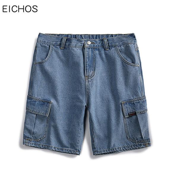 EICHOS Mens Shorts Summer Jeans Hip Hop Multi-Pockets Cargo Short Jeans Men Cotton Solid Color Casual Denim Jogger Shorts