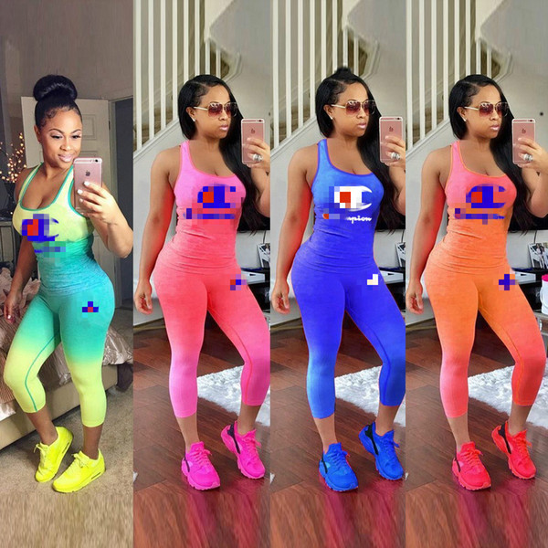 best selling Gradient Color Champions Print Tracksuit Women 2 Piece Set Outfit Sleeveless Tank Top Vest + Tights Leggings Pants Summer Sportswear