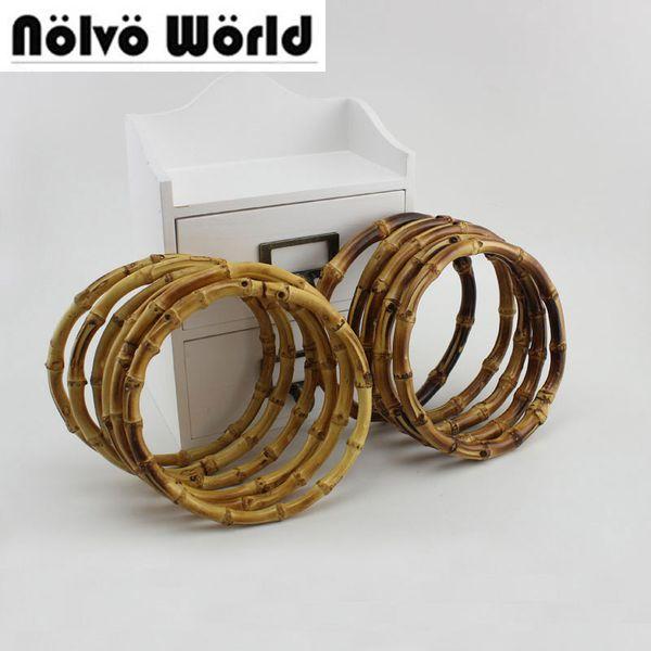 ring bag 2 pairs=4 pieces,12 15cm 18cm round bamboo circle ring for DIY bag handbag handle,Real bamboo handle for crafts sewing
