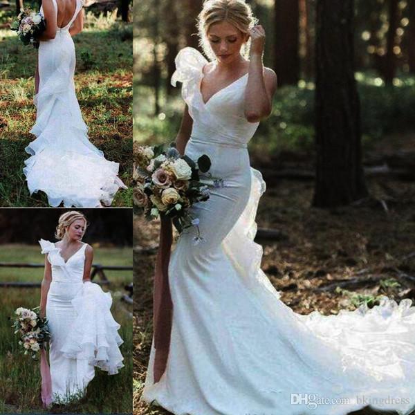 Fairy Country Mermaid Wedding Dresses Long 2019 Organza Train Ruffle Sexy Backless Strap V Neck Beach Boho Bridal Gowns Fish Tail Cheap Plus