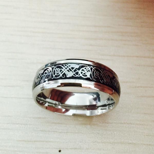 UHotstore Free hot Dia Dos Namorados Do Vintage de aço de Tungstênio branco Anel de Ouro para homens Senhor titanium anéis de casamento banda novo anel de punk jóias