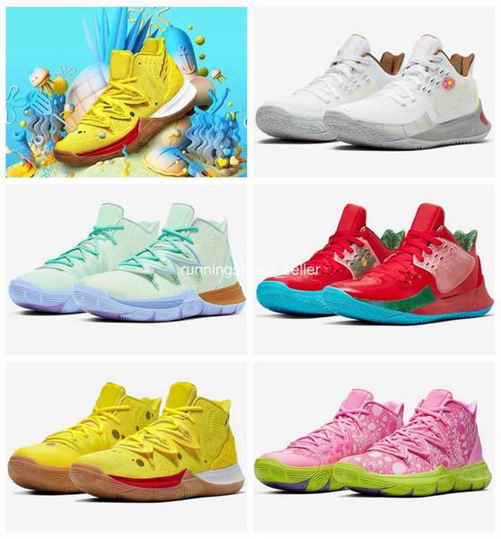 Großhandel 2019 Neue SpongeBob SquarePants X Nike Kyrie 5 Patrick Pink Thaddäus Damen Herren Basketball Schuhe Irving 5 Sport CJ6951 700 Designer